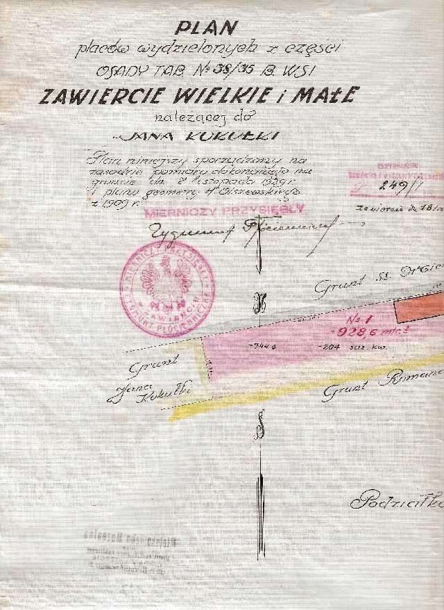 Plan działek Zawiercia w roku 1929